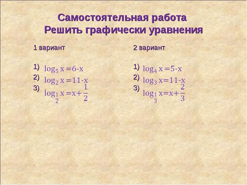 Самостоятельная работа Решить графически уравнения 1 вариант 2 вариант 1)1)...