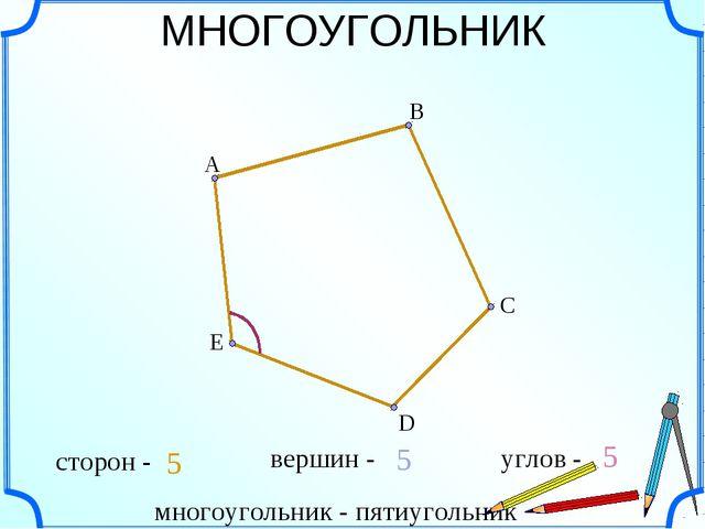 МНОГОУГОЛЬНИК А С E B D многоугольник - пятиугольник сторон - 5 5 5 вершин -...