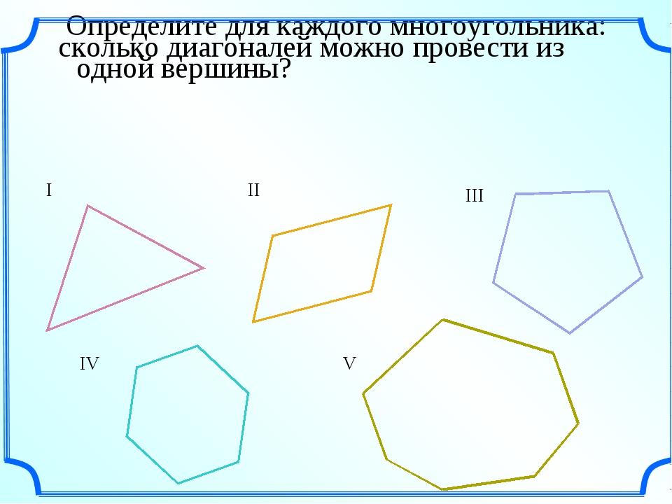 Определите для каждого многоугольника: сколько диагоналей можно провести из о...