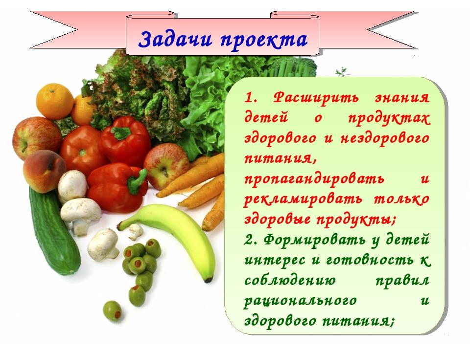 Задачи проекта 1. Расширить знания детей о продуктах здорового и нездорового...
