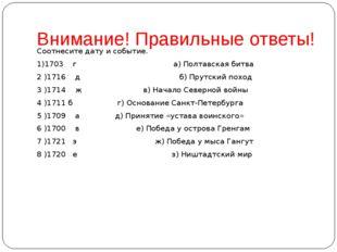 Внимание! Правильные ответы! Соотнесите дату и событие. 1)1703 г а) Полтавска