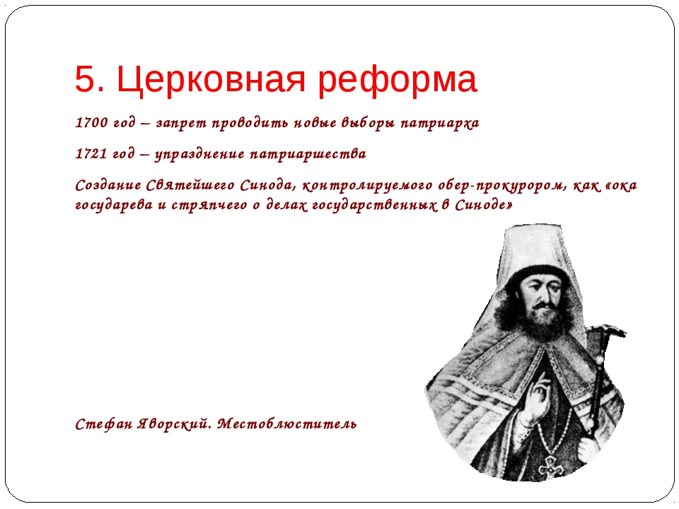 5. Церковная реформа 1700 год – запрет проводить новые выборы патриарха 1721...