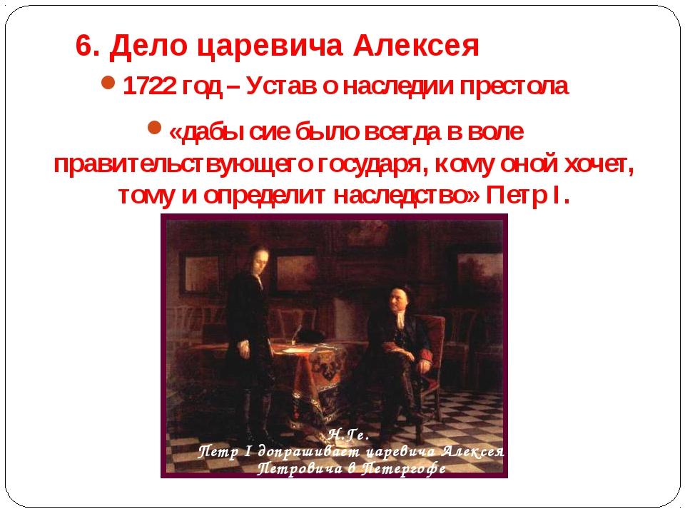 6. Дело царевича Алексея 1722 год – Устав о наследии престола «дабы сие было...