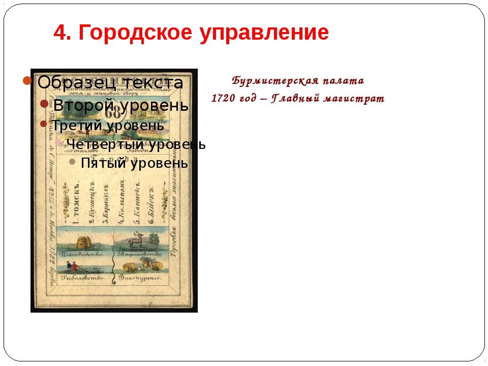 4. Городское управление Бурмистерская палата 1720 год – Главный магистрат