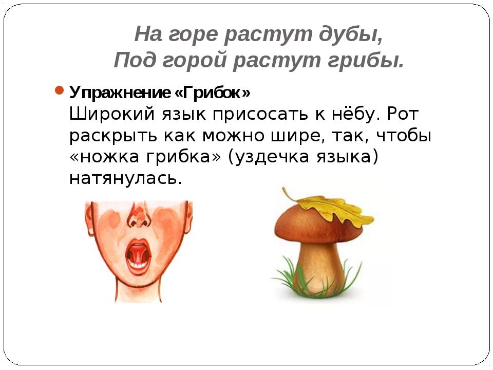 На горе растут дубы, Под горой растут грибы. Упражнение «Грибок» Широкий язык...