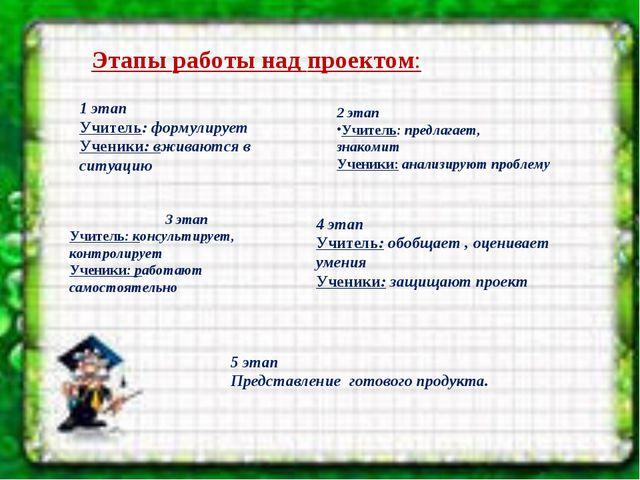 Этапы работы над проектом: 1 этап  Учитель: формулирует Ученики:вживаются...