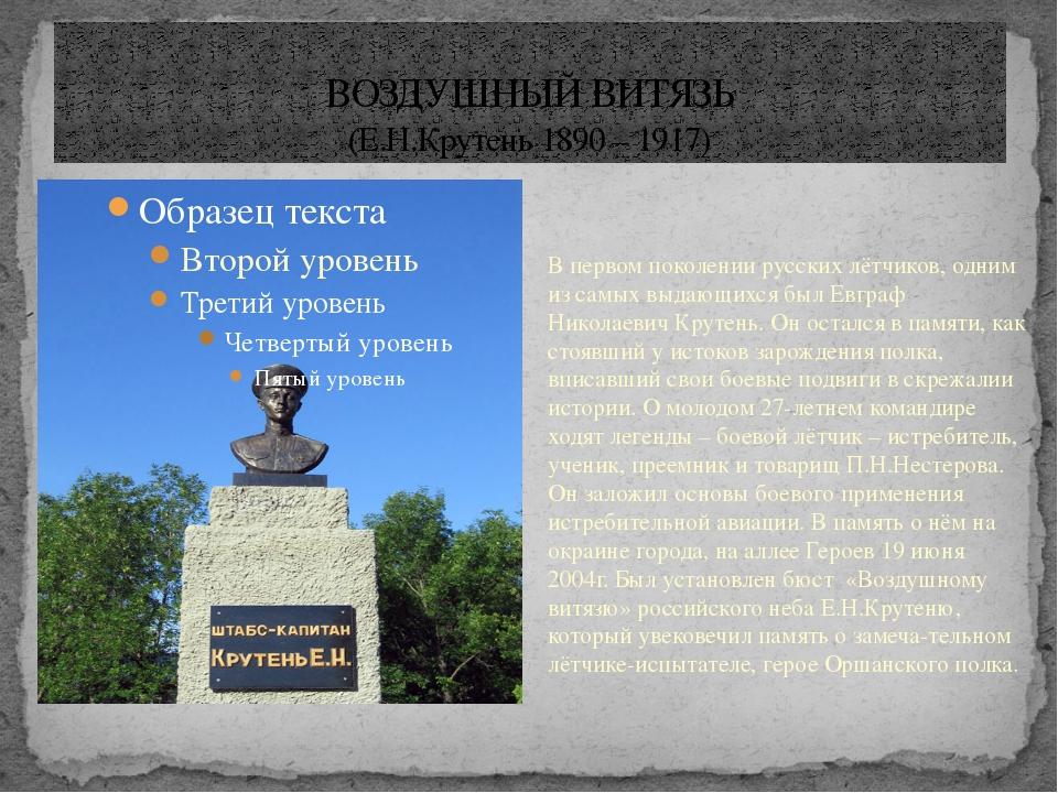 ВОЗДУШНЫЙ ВИТЯЗЬ (Е.Н.Крутень 1890 – 1917) В первом поколении русских лётчико...