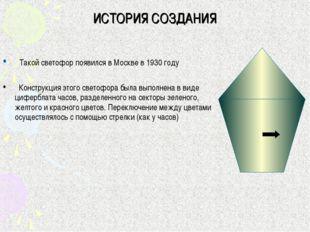 ИСТОРИЯ СОЗДАНИЯ Такой светофор появился в Москве в 1930 году Конструкция это