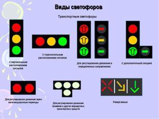 Виды светофоров Транспортные светофоры С вертикальным расположением сигналов