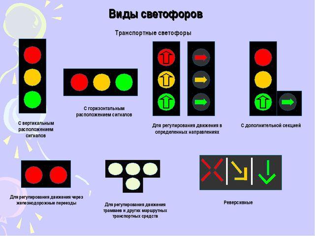 Виды светофоров Транспортные светофоры С вертикальным расположением сигналов...