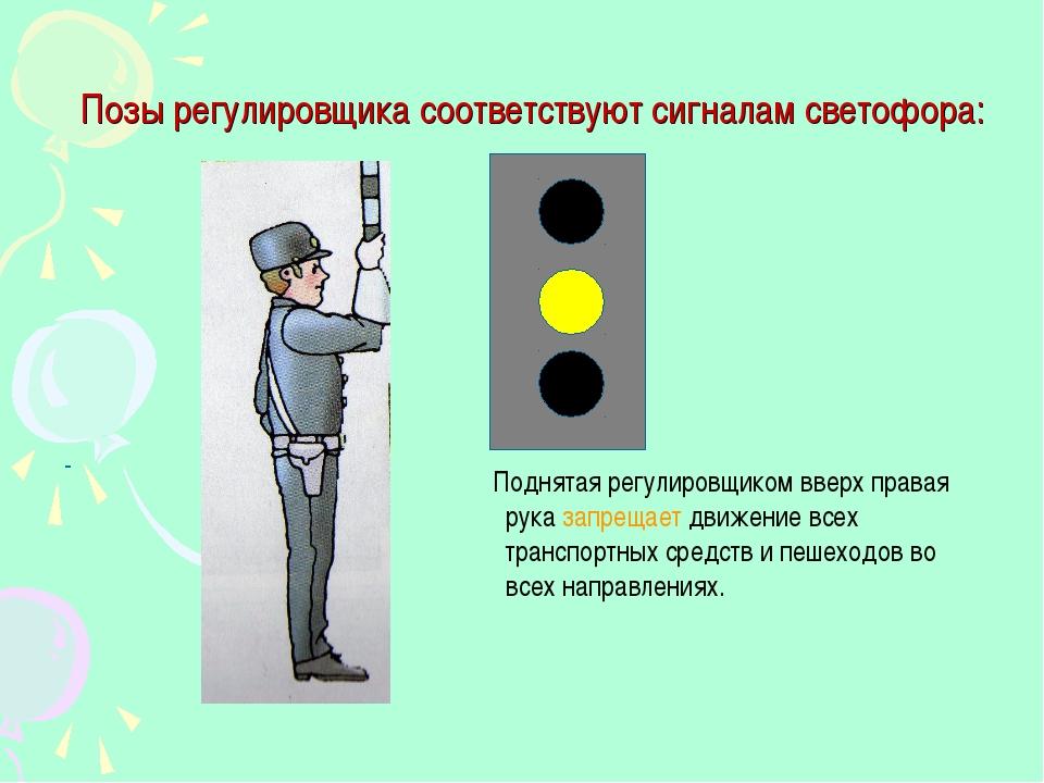 Позы регулировщика соответствуют сигналам светофора: - Поднятая регулировщико...