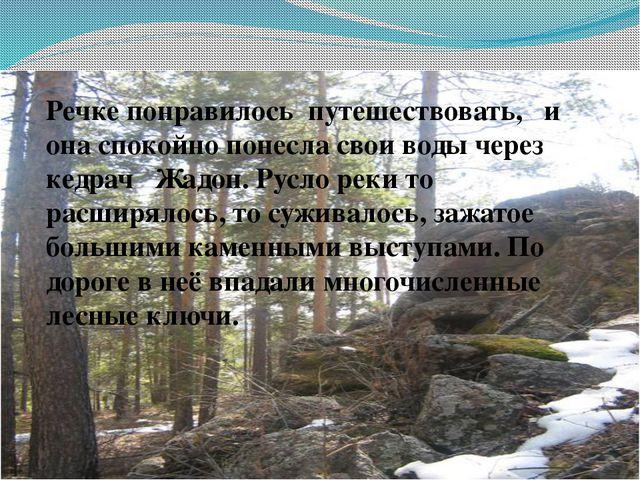 Речке понравилось путешествовать, и она спокойно понесла свои воды через кед...