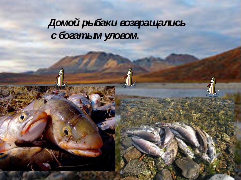 Домой рыбаки возвращались с богатым уловом.