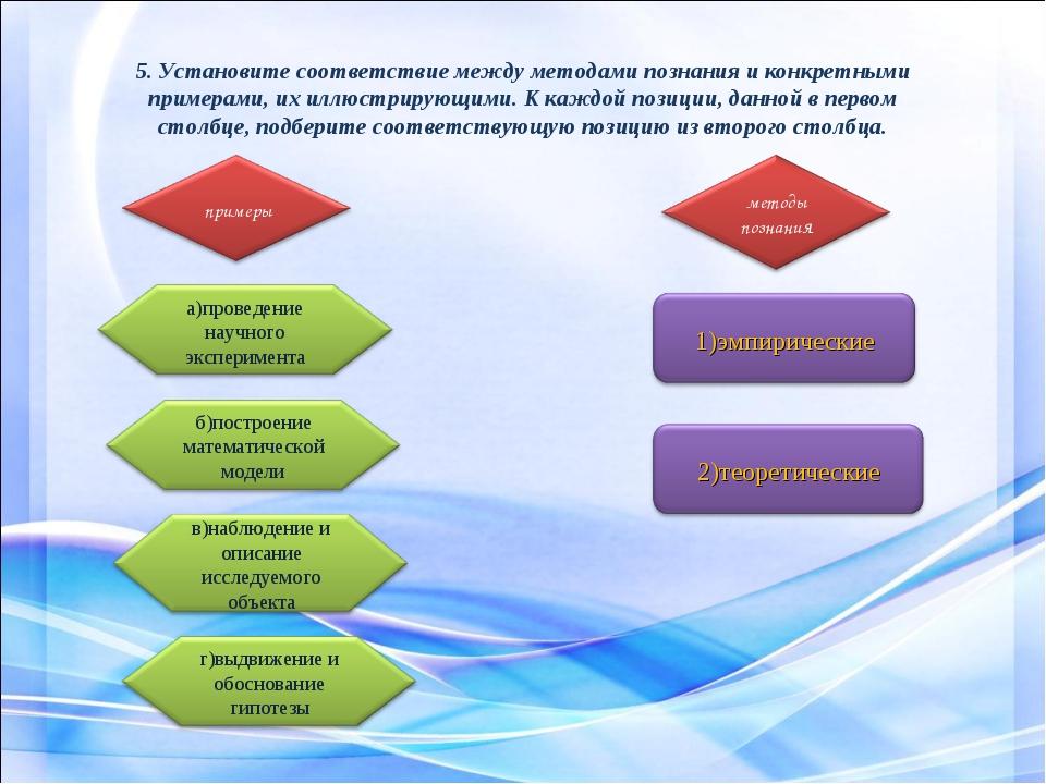 5. Установите соответствие между методами познания и конкретными примерами, и...
