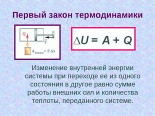 Первый закон термодинамики Изменение внутренней энергии системы при переходе