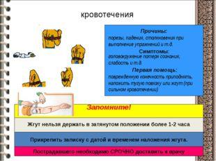 кровотечения Причины: Симптомы: Первая помощь: порезы, падения, столкновения