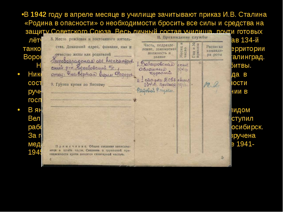 В 1942 году в апреле месяце в училище зачитывают приказ И.В. Сталина «Родина...