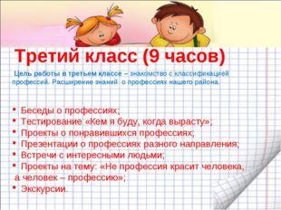 Третий класс (9 часов) Беседы о профессиях; Тестирование «Кем я буду, когда в
