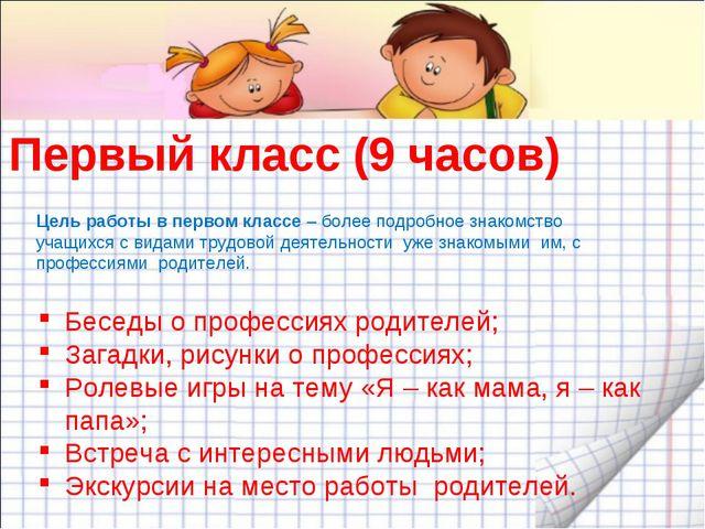 Первый класс (9 часов) Беседы о профессиях родителей; Загадки, рисунки о проф...