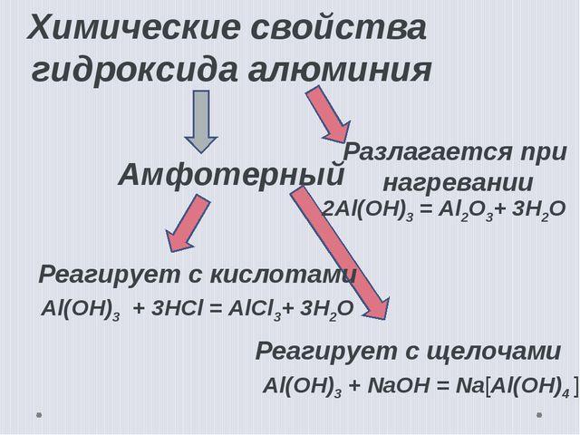 Химические свойства гидроксида алюминия Амфотерный Реагирует с кислотами Реаг...