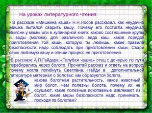 На уроках литературного чтения: В рассказе «Мишкина каша» Н.Н.Носов рассказа