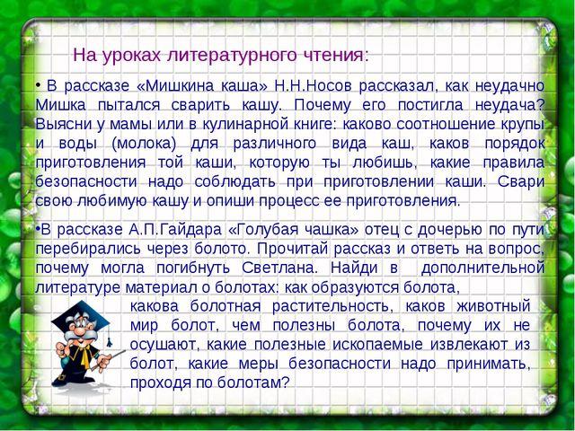 На уроках литературного чтения: В рассказе «Мишкина каша» Н.Н.Носов рассказа...