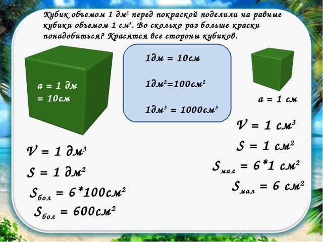 Кубик объемом 1 дм3 перед покраской поделили на равные кубики объемом 1 см3....