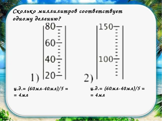 Сколько миллилитров соответствует одному делению? ц.д.= (60мл-40мл)/5 = = 4мл...