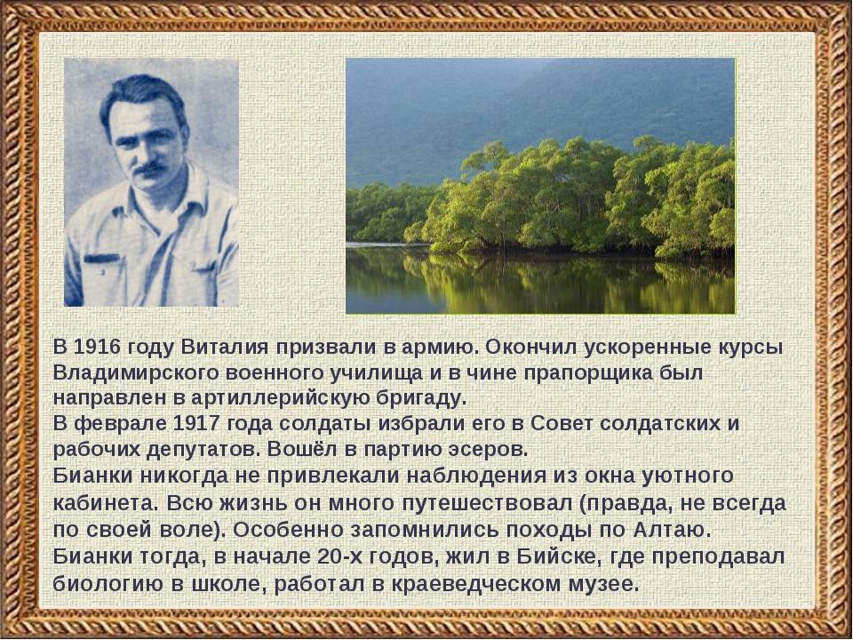В 1916 году Виталия призвали в армию. Окончил ускоренные курсы Владимирског...