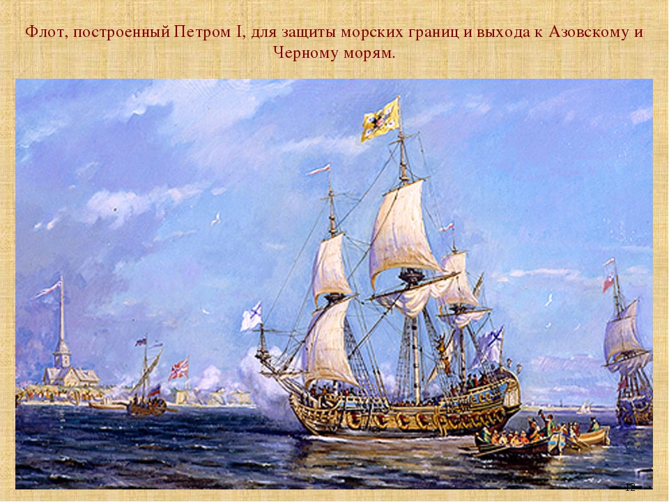 Флот, построенный Петром I, для защиты морских границ и выхода к Азовскому и...