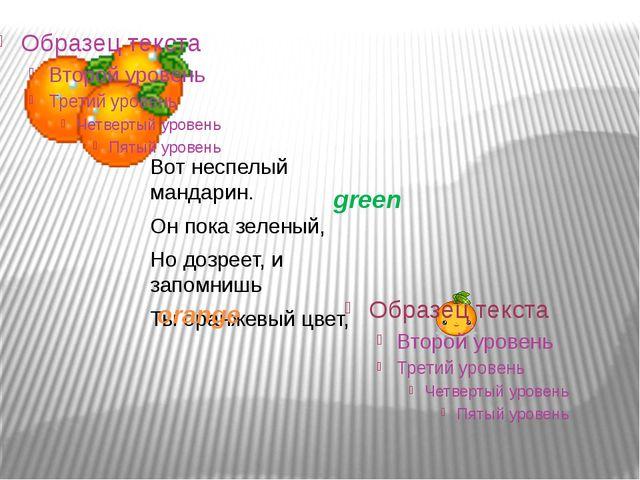 Вот неспелый мандарин. Он пока зеленый, Но дозреет, и запомнишь Ты оранжевый...