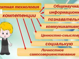 Проектная технология компетенции Общенаучная информационную познавательную к