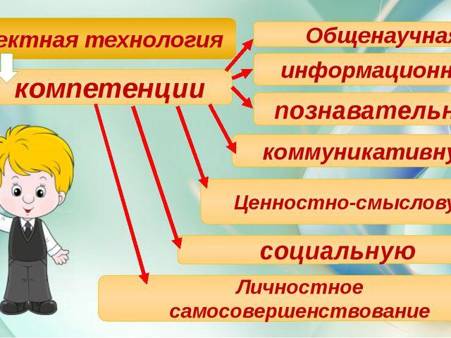 Проектная технология компетенции Общенаучная информационную познавательную к...