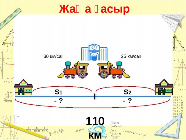 Жаңа ғасыр 30 км/сағ 25 км/сағ 110 км S1 - ? S2 - ?