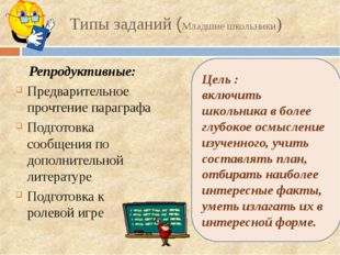 Типы заданий (Младшие школьники) Репродуктивные: Предварительное прочтение па