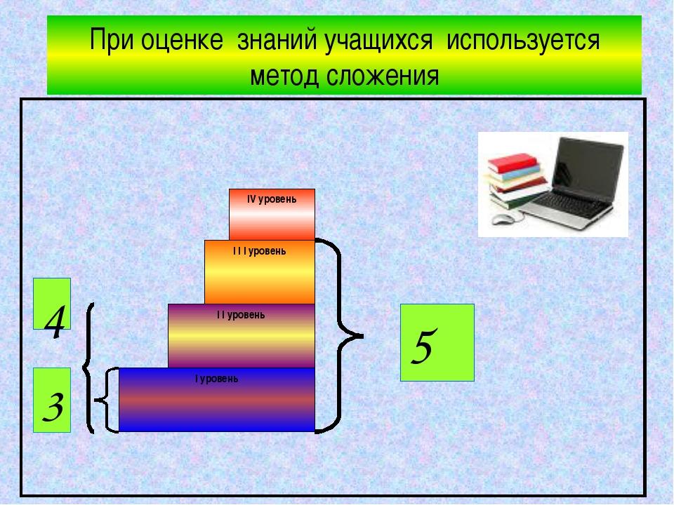При оценке знаний учащихся используется метод сложения