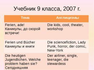 Учебник 9 класса, 2007 г. Тема Англицизмы Ferien,ade! Каникулы, до скорой вст