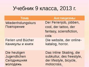 Учебник 9 класса, 2013 г. Тема Англицизмы Wiedenholungskurs Повторение DerFer