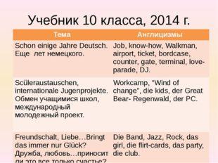 Учебник 10 класса, 2014 г. Тема Англицизмы Schoneinige JahreDeutsch. Ещелетне