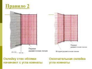 Правило 2 Оклейку стен обоями начинают с угла комнаты Окончательная оклейка у