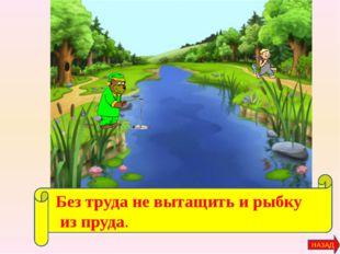 Без труда не вытащить и рыбку из пруда. НАЗАД