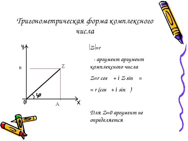Тригонометрическая форма комплексного числа Z =r φ- аргумент аргумент комплек...