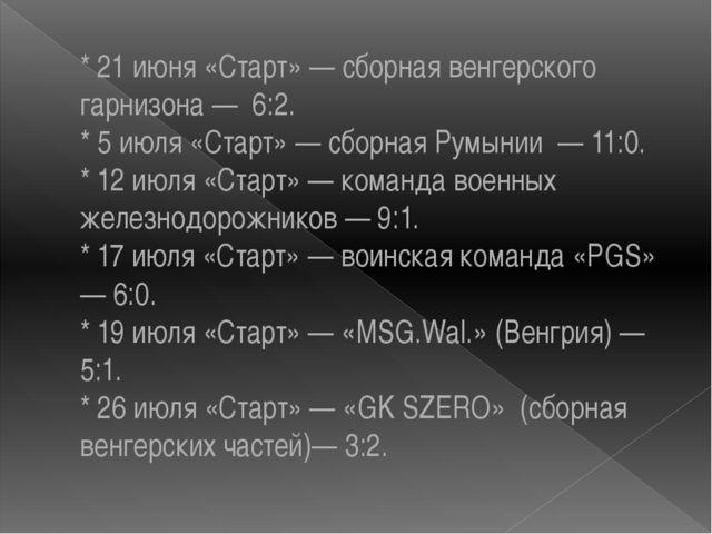 * 21 июня «Старт» — сборная венгерского гарнизона — 6:2. * 5 июля «Старт» — с...