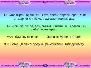 ІІІ.1. «Жапырақ, ағаш, күн, апта, сабақ, терезе, орақ, гүл» сөздеріне көптік