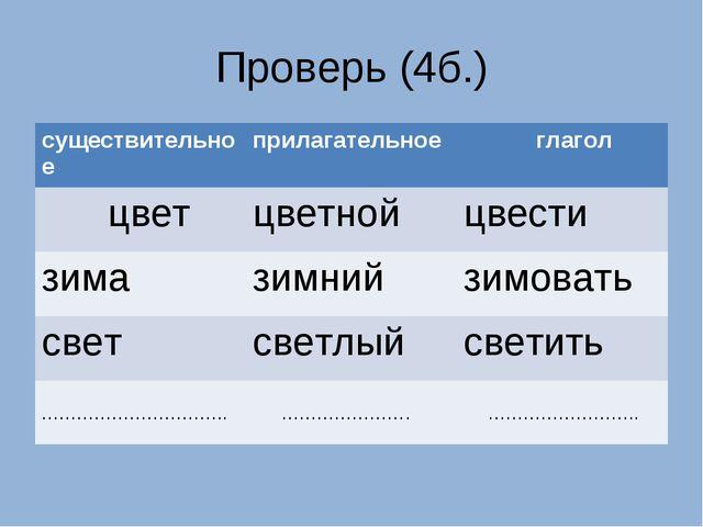 Проверь (4б.) существительноеприлагательное глагол цветцветнойцвести зима...
