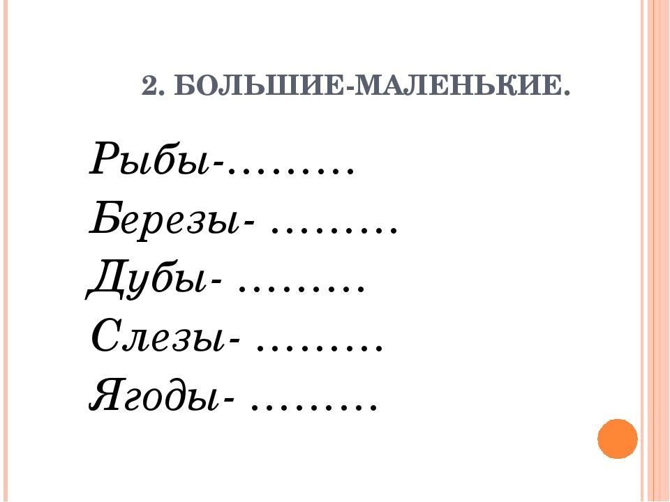 2. БОЛЬШИЕ-МАЛЕНЬКИЕ. Рыбы-……… Березы- ……… Дубы- ……… Слезы- ……… Ягоды- ………