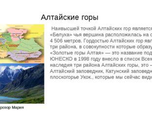 Алтайские горы Наивысшей точкой Алтайских гор является гора «Белуха» чья вер