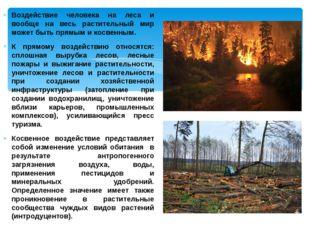 Воздействие человека на леса и вообще на весь растительный мир может быть пря