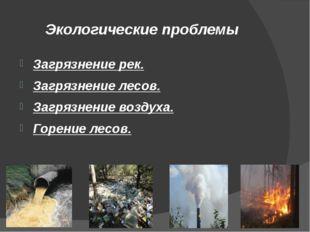 Экологические проблемы Загрязнение рек. Загрязнение лесов. Загрязнение воздух
