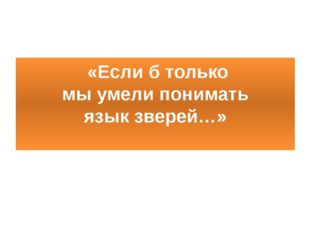 «Если б только мы умели понимать язык зверей…»